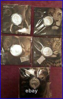 South Africa BIG Five Complete SILVER collection VERY RARE! Big5, big 5