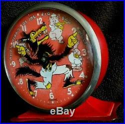 Trés rare réveil animé INGERSOLL BIG BAD WOLF Disney