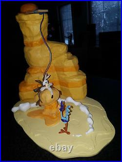 Ultra Rare! Looney Tunes Wile E Coyote Failed Trap For Road Runner Big Statue