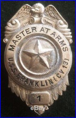 Very Rare Uss Franklin CV 13 Big Ben Master At Arms Badge Number 1