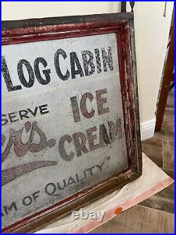 Vintage Antique Wood Metal Painted Ice Cream Sign Rare Big Double Sided Maybrook