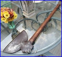 Vintage Broad Head Axe Original Wood Handle -HUGE Blade RARE BIG axe bushcraft