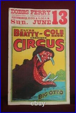 Vintage Clyde Beatty & Cole Bros. Big Otto Hippopotamus Circus Poster 1950 RARE