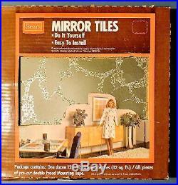 Vintage MCM Sears Mirror Tiles Rare CHROME / SILVER Color Veined NOS BIG LOT