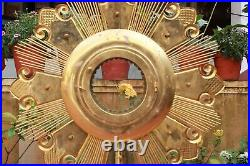 Vintage Monstrance Brass Big Ostensorium Golden Catholic Church Altar Decor Rare
