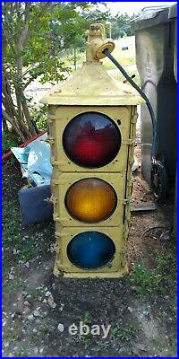 Vtg 4 way G. E. Traffic Light Industrial Simplex Signal Rare Ge Stop 3-light Big