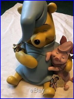 Walt Disney Winnie the Pooh with Piglet Sleeping Figurine Statue Rare Big Fig